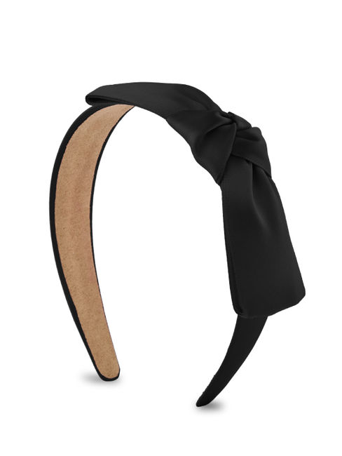 ToniQ Black Knotted Bow Head Band For Women
