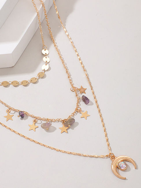 Toniq Luna Gold Chic Layered Star & Moon Charm Layered Necklace For Women