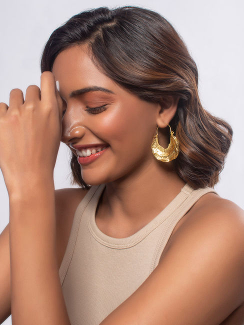 Toniq Sands of Time Gold Chic Hoop Circle Drop Earrings For Women
