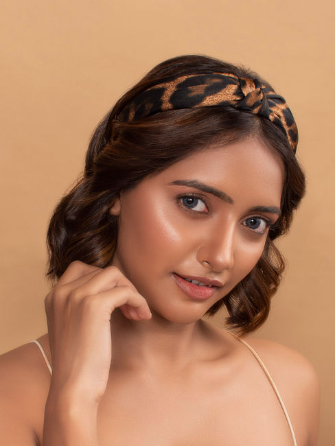 Wild Side Brown Animal Printed Top Knot Hairband For Women