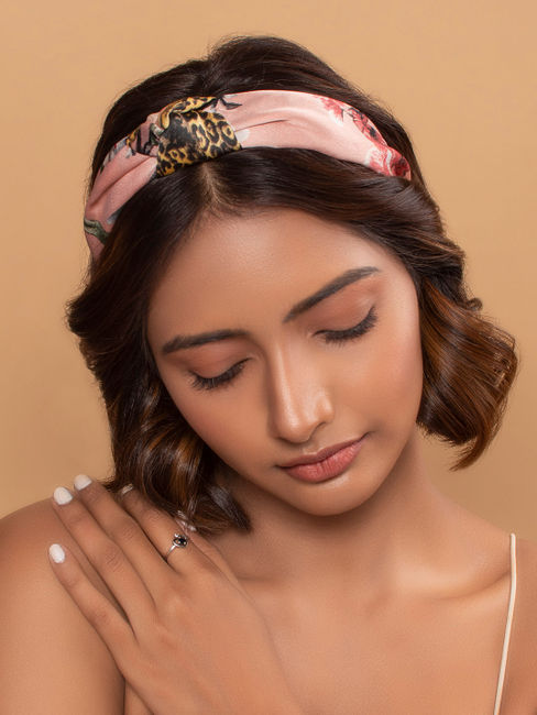 Bloom Pink Floral Printed Top Knot Hairband For Women