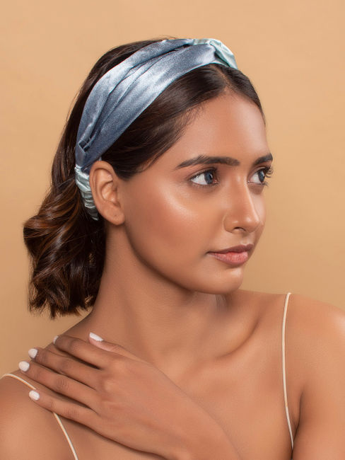 Sky Light Pale Blue Ombre Elegant Solid Satin Twisted Hair Band/Head Band For Women