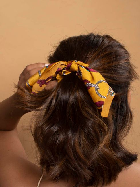 Toniq Bring Me Flowers Yellow Satin Floral Printed Bow Scrunchy Rubberband For Women
