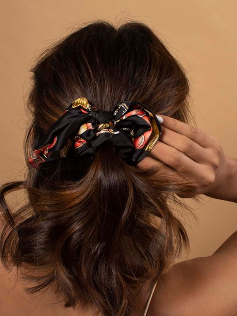 Toniq Bring Me Flowers Black Satin Floral Printed Bow Scrunchie Rubberband For Women