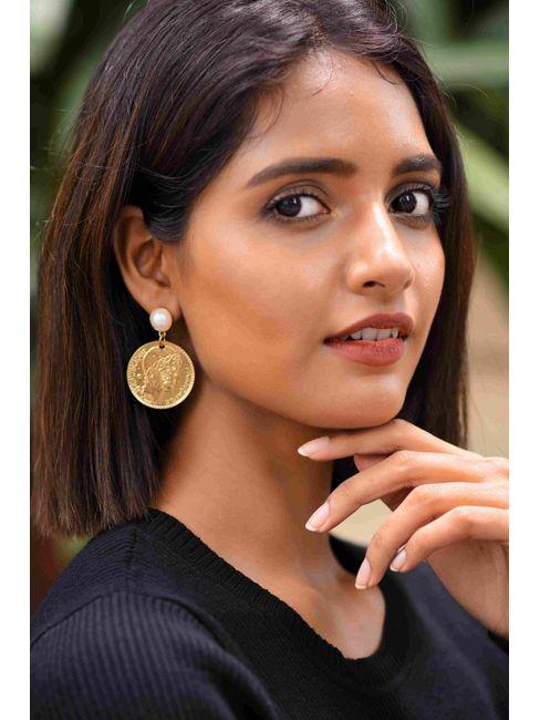 Gold-Toned Circular Coin Drop Earrings
