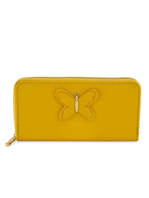 Toniq Mustard Butterfly Zip Around Wallet For Women