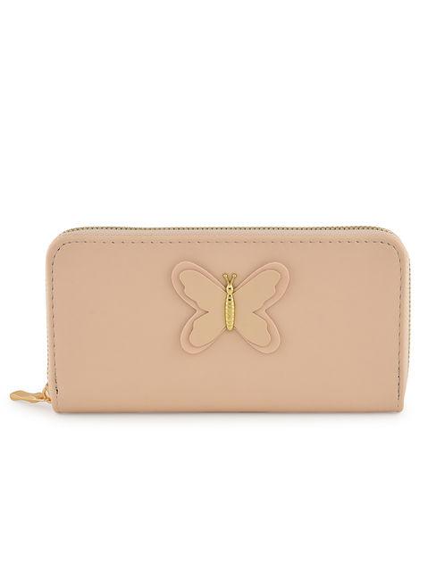 Toniq Pretty Pink Butterfly Zip Around Wallet For Women