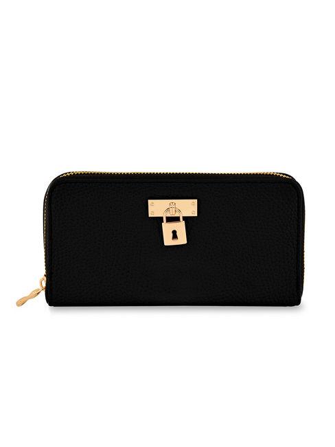 Toniq Trendy Black Padlock Zip Around Wallet For Women