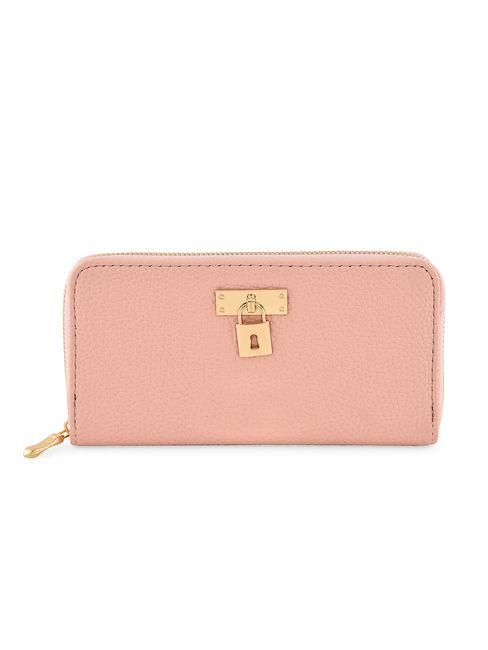 Toniq Pretty Pink  Padlock Zip Around Wallet For Women