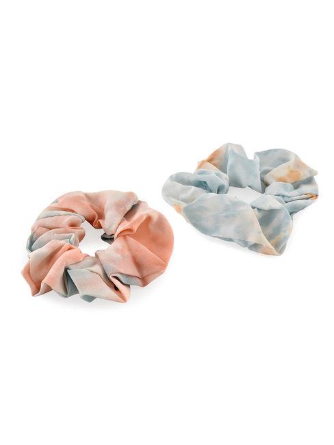 Toniq Rainbow Dreams Pretty Pastel Set Of 2 Tie Dye Hair Scrunchie Rubber Band For Women