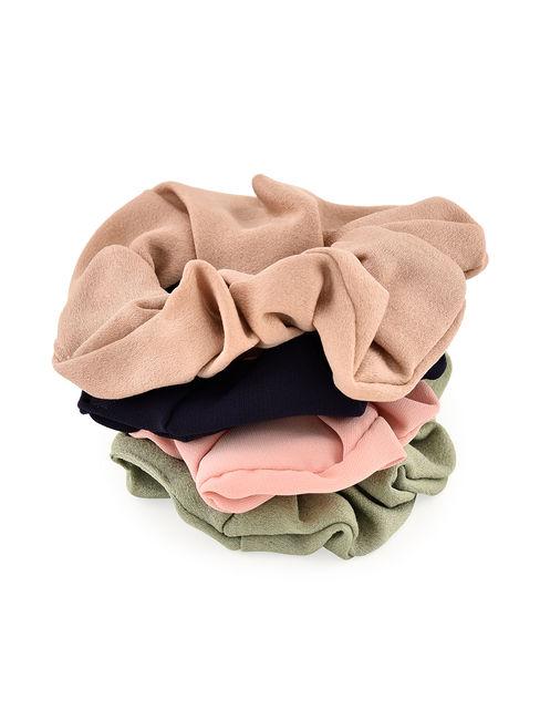 Toniq Classic Multicolor Set Of 4  Satin Scrunchie Rubberband for Women and Girls
