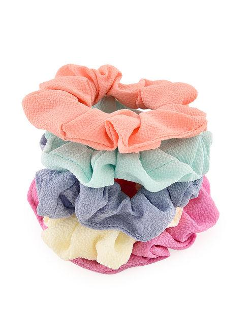 Toniq Classic Multicolor Set Of 5 Pastel Scrunchie Rubber Band For Women
