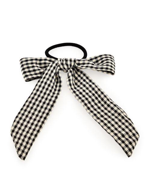 Toniq Checkboard Black & White Bow Rubber Band For Women