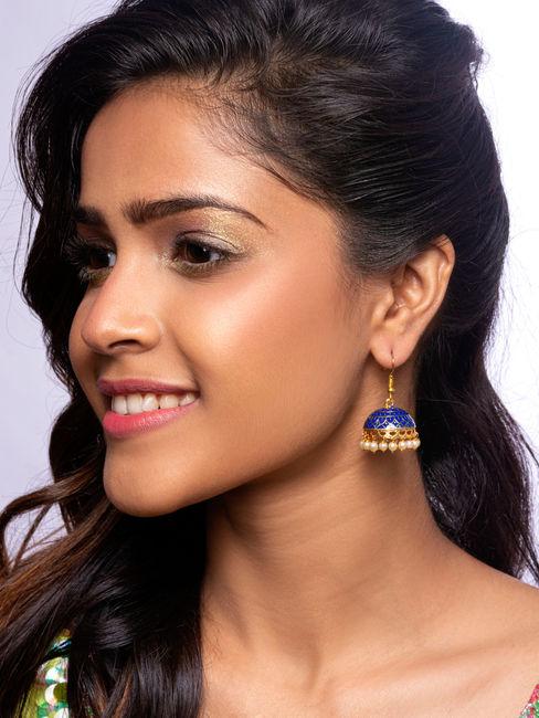 Neel Gold Ethnic Traditional Navy Blue Meenakari Pearl Jhumki/ Jhumka Earrings For Women