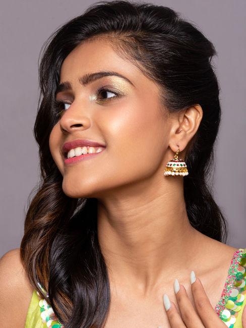 Gold Ethnic Traditional Multicolor Meenakari Pearl Jhumki/ Jhumka Earrings For Women