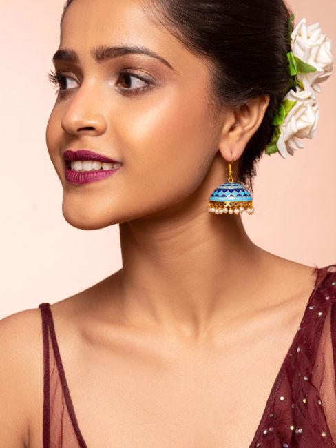 Sawan Gold Ethnic Traditional Blue and Navy Meenakari Pearl Jhumki/ Jhumka Earrings For Women