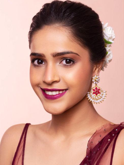 Fida Chanda Gold Wedding Ethnic Traditional Pink Stones & Pearl Chandbali Drop Earrings For Women