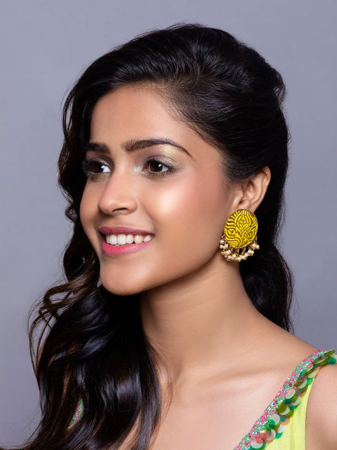 Fida Bitiya Rani Gold Wedding Ethnic Traditional Haldi Yellow Meenakari Pearl Bold Stud Earrings For Women