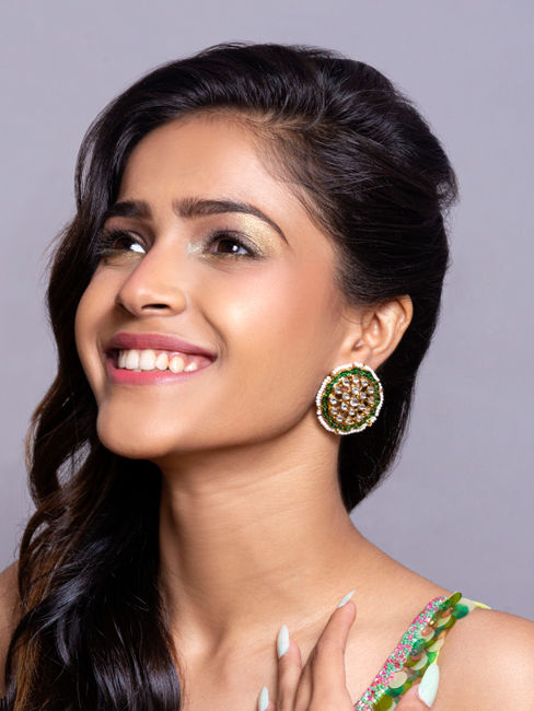 Fida Gold Wedding Ethnic Traditional Green Enamel and Kundan Embellished Stud Earrings For Women