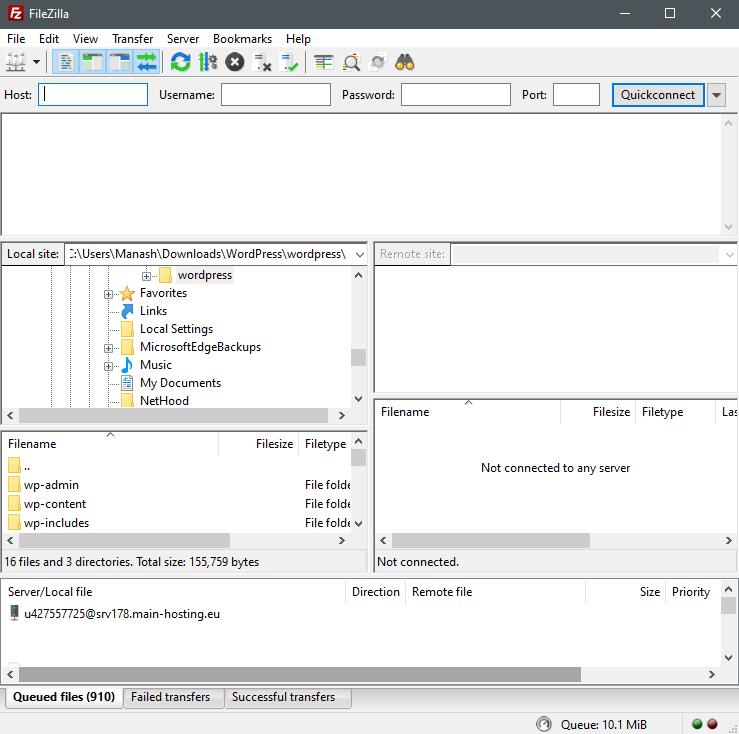 FileZilla FTP Client- instal wordpress manually