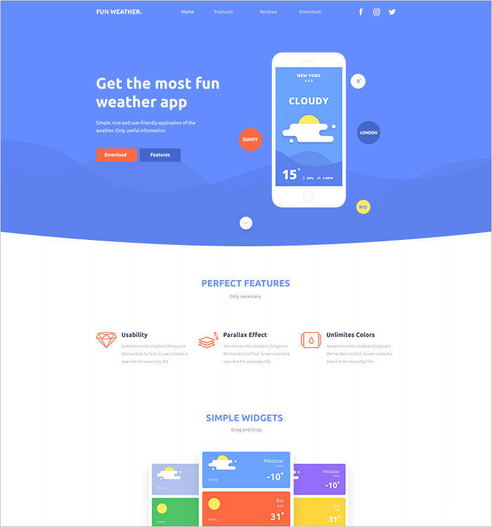 Fun Weather- A free landing page template for your apps-free templates download for website