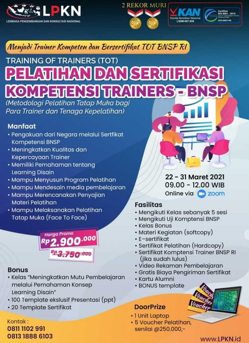 Pelatihan dan Sertifikasi Kompetensi Trainers - BNSP