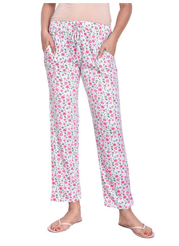 MISS19 WOMENS WHITE PRINTED FULL LENGTH PYJAMA