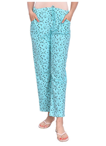 MISS19 WOMENS SKY KNITTED PYJAMA WITH POCKETS
