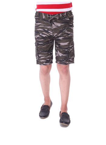 BORN FREE MENS PRINTED OLIVE KNEE LENGTH JAMAICAN