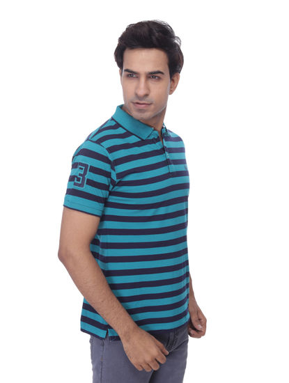 WALSEY MENS GREEN STRIPED STRAIGHT COLLAR T-SHIRT