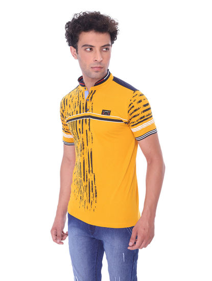 SQUARE UP MENS MUSTARD HALF SLEEVE STRAIGHT COLLAR T-SHIRT