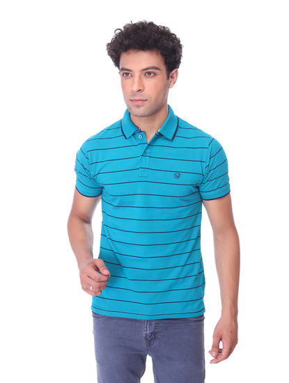 WALSEY MENS GREEN HALF SLEEVE STRAIGHT COLLAR T-SHIRT