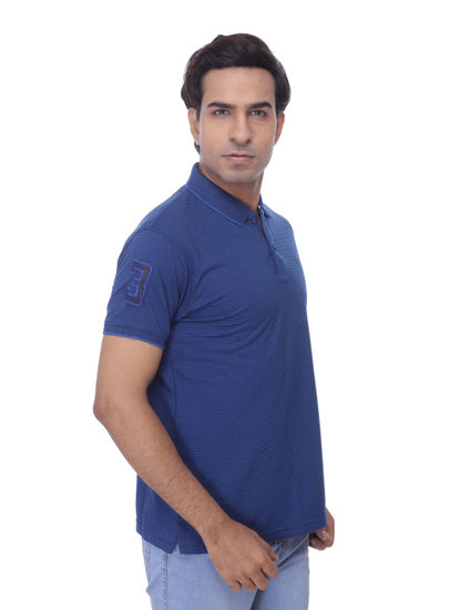 WALSEY MENS BLUE HALF SLEEVE STRAIGHT COLLAR T-SHIRT