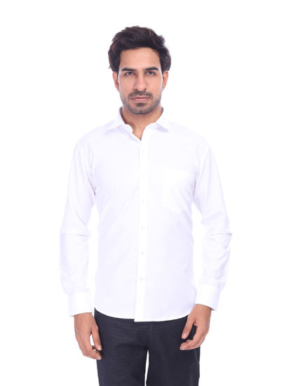 ALTAMOUNT MENS WHITE SOLID FULL SLEEVE  FORMAL SHIRTS
