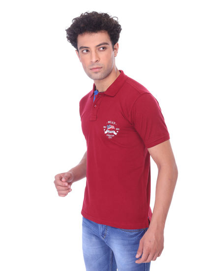WALSEY MENS MAROON HALF SLEEVE STRAIGHT COLLAR T-SHIRT