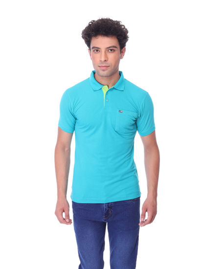 WALSEY MENS SEA GREEN HALF SLEEVE STRAIGHT COLLAR T-SHIRT