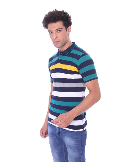 WALSEY MENS MIX COTTON HALF SLEEVE STRAIGHT COLLAR T-SHIRT