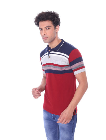 WALSEY MENS RED HALF SLEEVE STRAIGHT COLLAR T-SHIRT