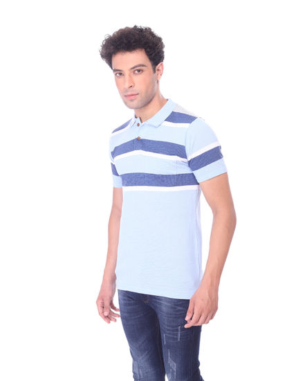 WALSEY MENS SKY BLUE STRIPED STRAIGHT COLLAR T-SHIRT