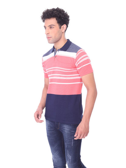 WALSEY MENS PINK STRIPED STRAIGHT COLLAR T-SHIRT