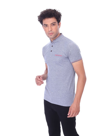 WALSEY MENS GREY HALF SLEEVE STRAIGHT COLLAR T-SHIRT