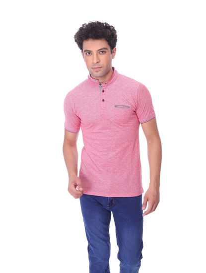 WALSEY MENS PINK HALF SLEEVE STRAIGHT COLLAR T-SHIRT