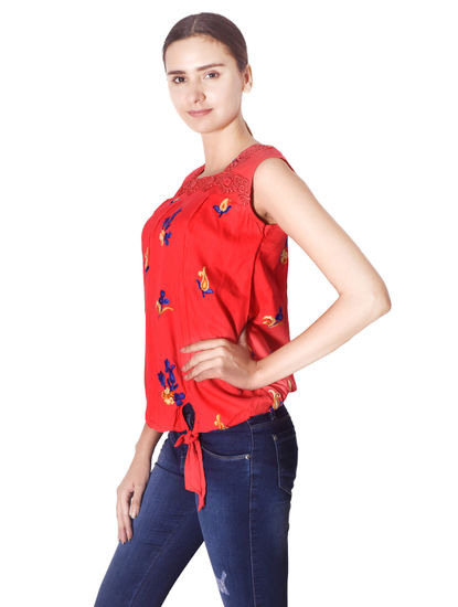 MISS19 WOMEN'S RAYON PRINTED TOP