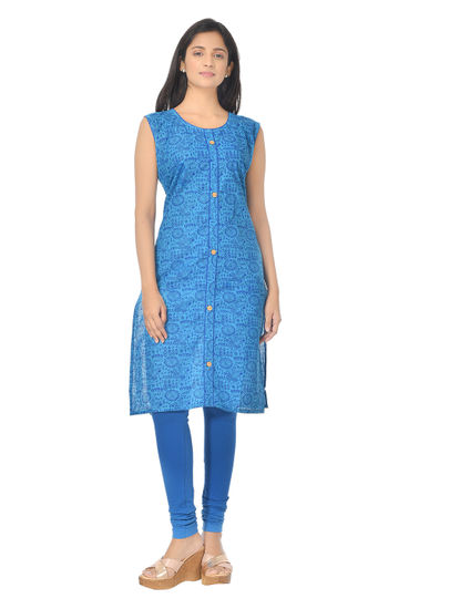 AWAYA WOMEN'S PRINTED COTTON BLUE KURTI
