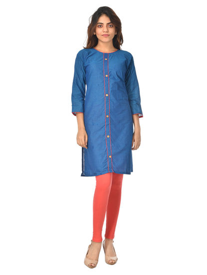 AWAYA WOMEN'S BLOCK PRINTED FULL SLEEVE KURTI