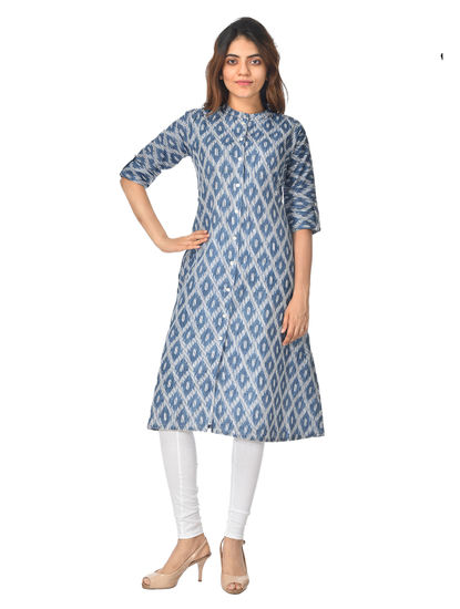 AWAYA WOMEN'S 3/4 SLEEVES FOIL PRINTED KURTI
