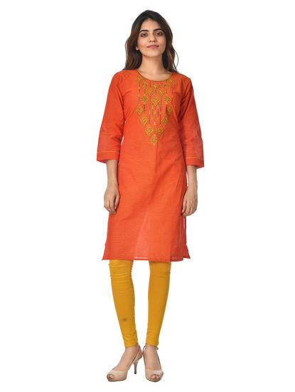 AWAYA WOMEN'S EMBROIDARY COTTON  CREW NECK KURTI
