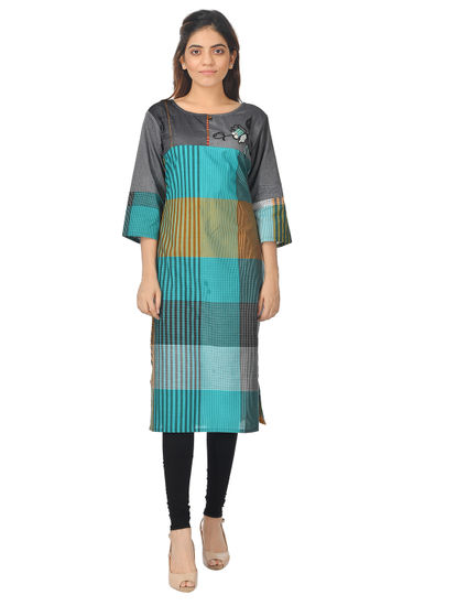 AWAYA WOMEN'S CHECKS 3/4 SLEEVE COTTON KURTI