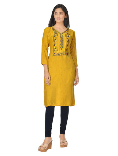 AWAYA WOMEN'S PRINTED GOLDEN KURTI