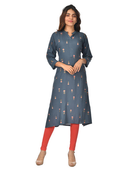 AWAYA WOMEN'S RAYON ALL OVER PRINT KURTI
